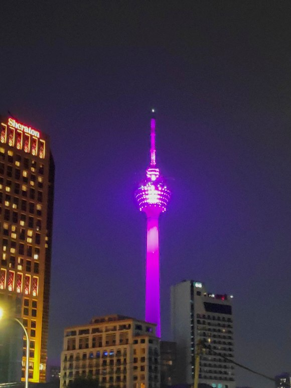 The colour changing Menara KL Tower
